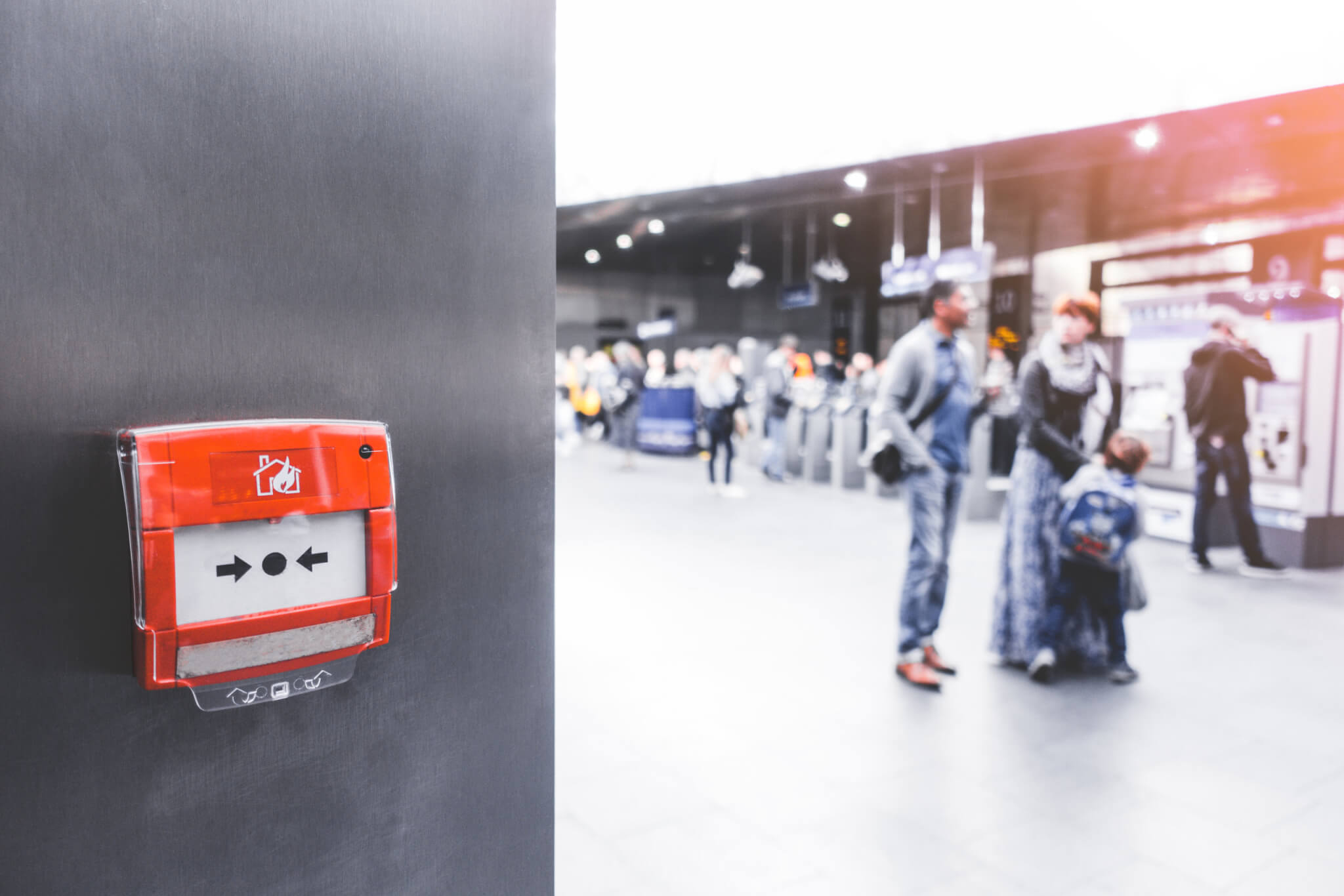 London, England-19 October,2018: Fire alarm for emergency on the wall in train station, subway or underground at London train station, England. Public fire alarm for safety concept.